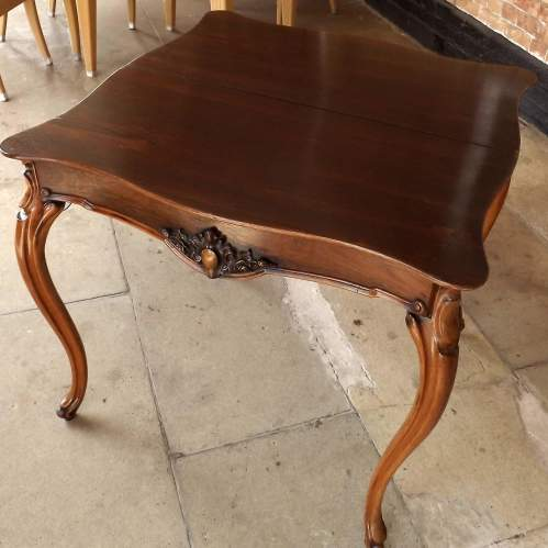 Victorian Rosewood Serpentine Fold Over Concertina Tea Side Table image-6