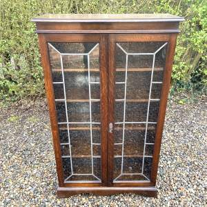 1920s Oak Bookcase with Leaded Glass Doors