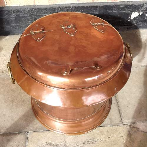 Rare Large Victorian Arts & Crafts Copper Country House Ice Caddy image-2