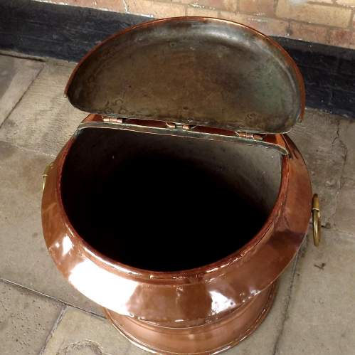 Rare Large Victorian Arts & Crafts Copper Country House Ice Caddy image-3
