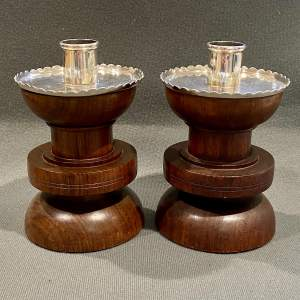 Arts and Crafts Silver and Mahogany Candle Holders