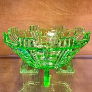 Art Deco Uranium Green Glass Bowl