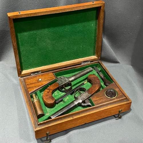 Cased Pair of Percussion Box Lock Pistols image-1