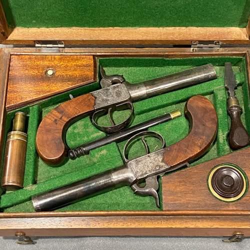 Cased Pair of Percussion Box Lock Pistols image-2