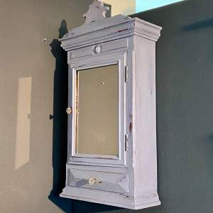 1930s French Blue Painted Oak Bathroom Wall Cabinet