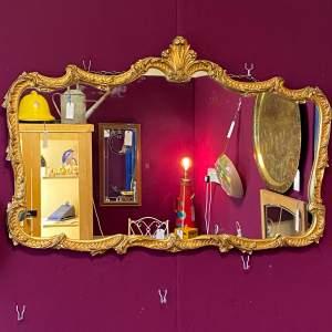 Antique Baroque Landscape Gilt Metal Mirror