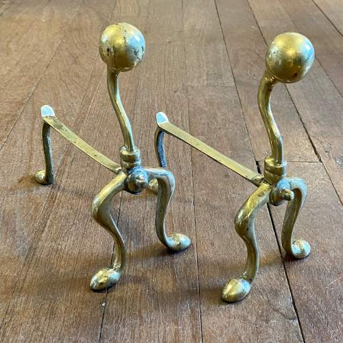 Victorian Brass Fire Dogs and Matching Irons image-2