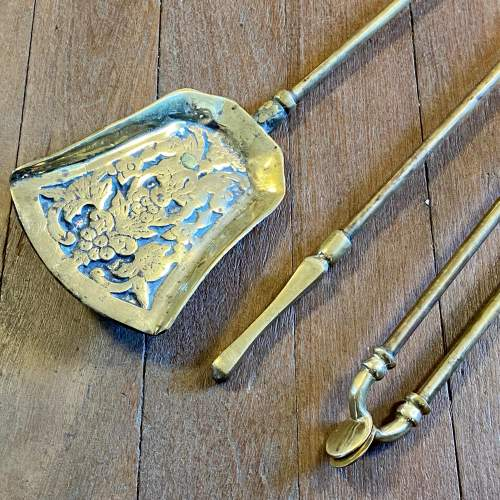 Victorian Brass Fire Dogs and Matching Irons image-5