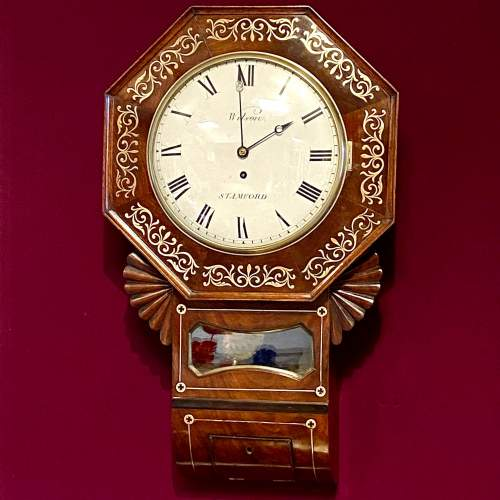 English 19th Century Drop Dial Fusee Wall Clock by Wilson of Stamford image-1