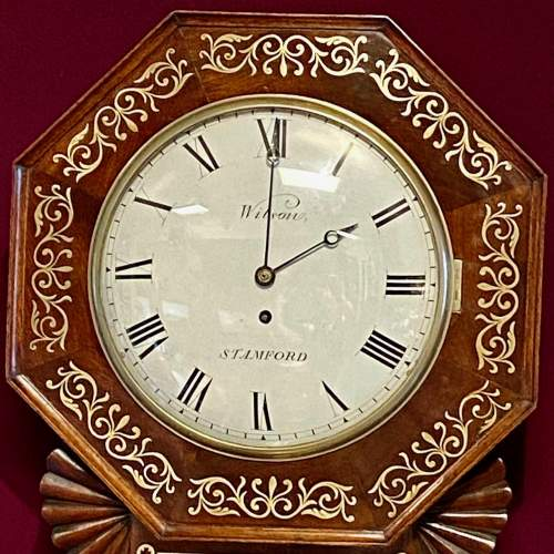 English 19th Century Drop Dial Fusee Wall Clock by Wilson of Stamford image-3