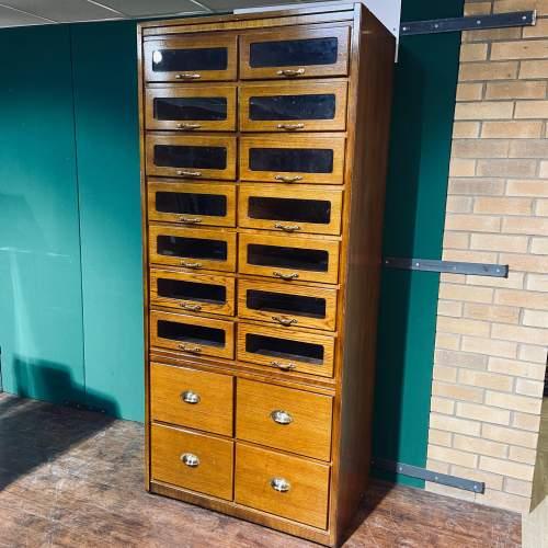 Large Golden Oak Vintage Haberdashery Shirt Cabinet image-1