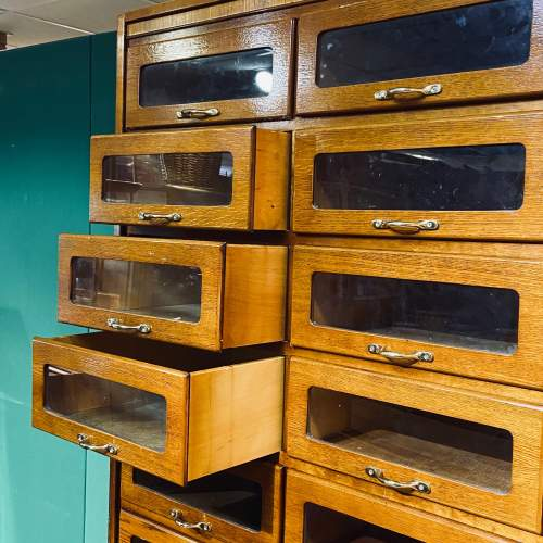 Large Golden Oak Vintage Haberdashery Shirt Cabinet image-2