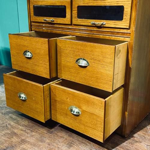 Large Golden Oak Vintage Haberdashery Shirt Cabinet image-3