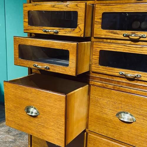 Large Golden Oak Vintage Haberdashery Shirt Cabinet image-4