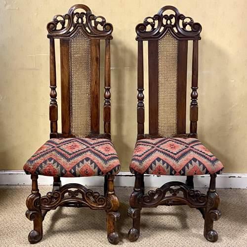 Pair of Walnut Charles II Chairs image-1