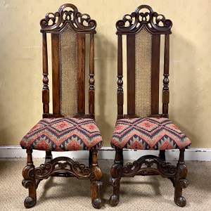 Pair of Walnut Charles II Chairs