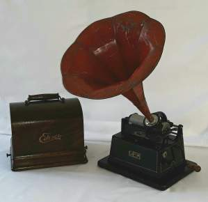 Edison Little Gem Phonograph with a Morning Glory Horn