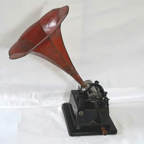 Edison Little Gem Phonograph with a Morning Glory Horn image-3