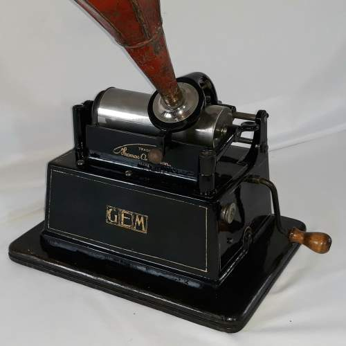 Edison Little Gem Phonograph with a Morning Glory Horn image-4