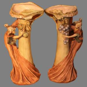 A Pair of Art Nouveau Royal Dux Ewers