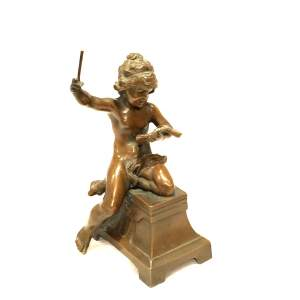 19th Century French Patinated Bronze Allegorical Putti