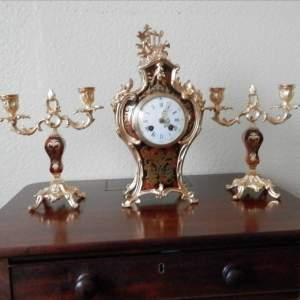 French Boulle 8-Day Clock Set with Ormolu Mounts