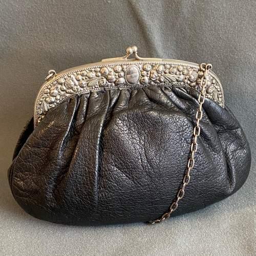 Antique Silver Framed Leather Evening Bag image-1