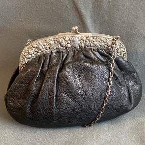 Antique Silver Framed Leather Evening Bag