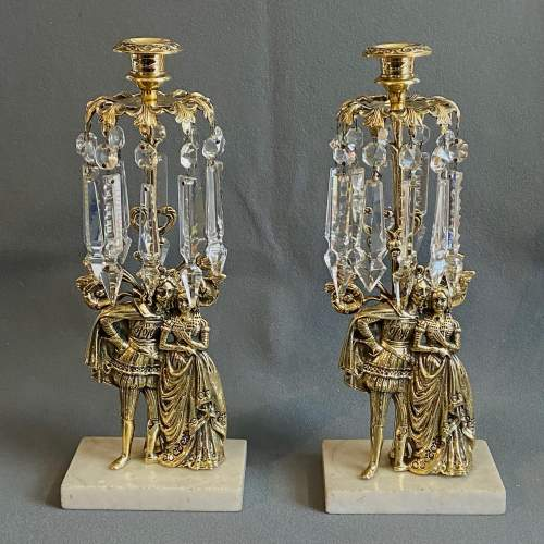 Quality Pair of Brass and Lustre Candlesticks image-1