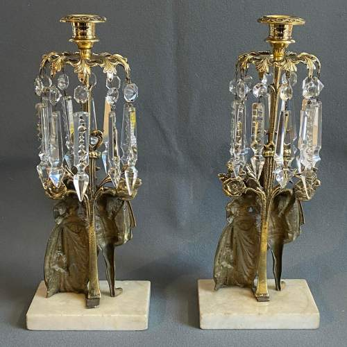 Quality Pair of Brass and Lustre Candlesticks image-5