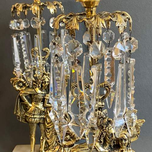 Quality Pair of Brass and Lustre Candlesticks image-6