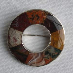 19th Century Scottish Hardstone and Silver Mounted Brooch