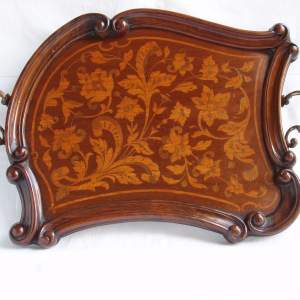 19th Century Shaped Mahogany Rosewood and Marquetry Tray