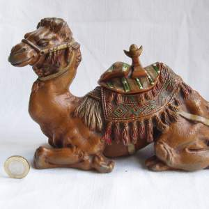 A Large 19th Century Cold Painted White Metal Camel Inkwell