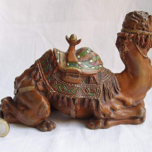 A Large 19th Century Cold Painted White Metal Camel Inkwell image-2