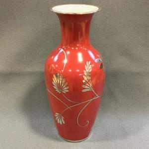 Friedrich Deusch Rosenthal Vase with Silver Overlay