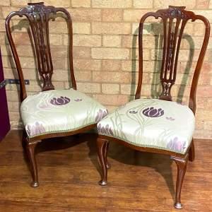Pair of Edwardian Mahogany Nursing Chairs