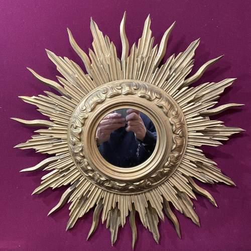 Very Unusual Wooden French Belgian Two Tier Sunburst Mirror image-1