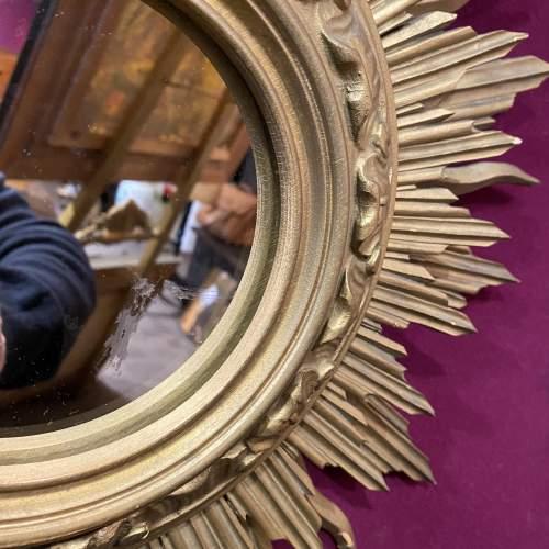 Very Unusual Wooden French Belgian Two Tier Sunburst Mirror image-2