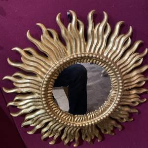 French Belgian Sunburst Mirror Stunning With Flame Effect