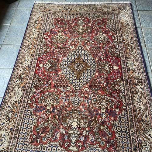 Stunning Hand Knotted Persian Rug Qum Floral Vase Design image-1