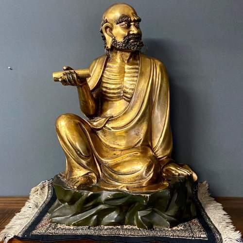 19th Century Gilt Bronze Figure of a Bearded Arhat image-1