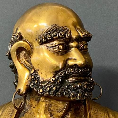 19th Century Gilt Bronze Figure of a Bearded Arhat image-2
