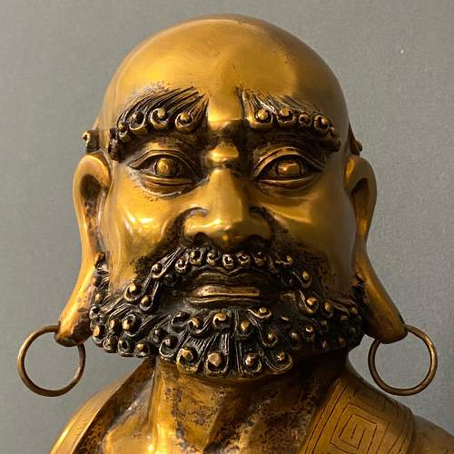 19th Century Gilt Bronze Figure of a Bearded Arhat image-5