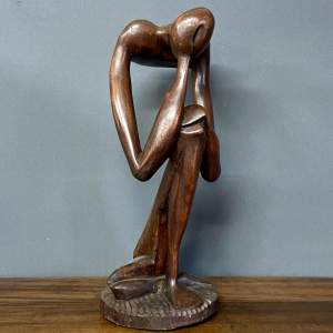 Early 20th Century Hardwood Sculpture The Thinker