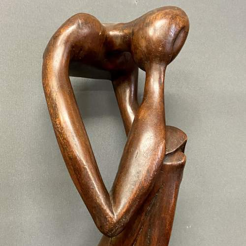 Early 20th Century Hardwood Sculpture The Thinker image-3