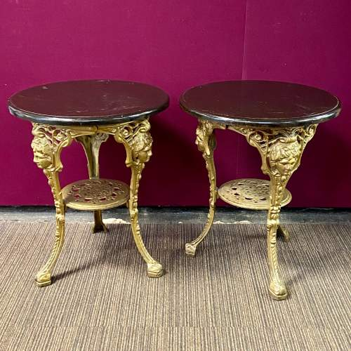 Pair of Quality Cast Iron Tavern Tables image-1