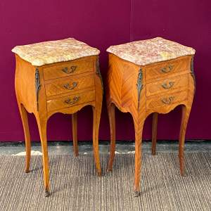Pair of Kingwood Inlaid Marble Top Nightstands