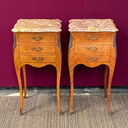 Pair of Kingwood Inlaid Marble Top Nightstands image-2