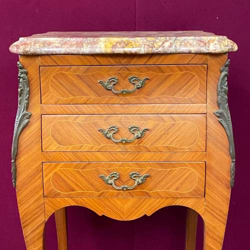 Pair of Kingwood Inlaid Marble Top Nightstands image-4